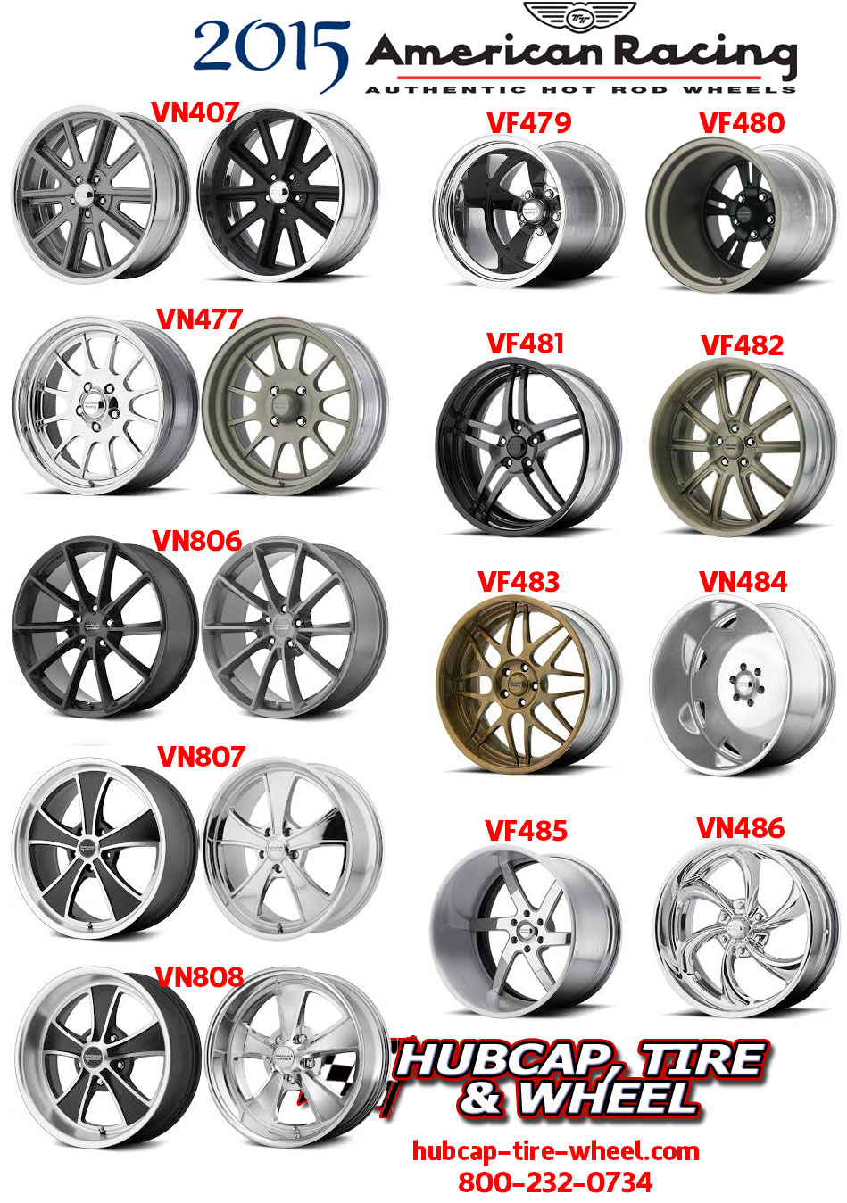New 2015 American Racing Classic Hot Rod Vintage Wheels