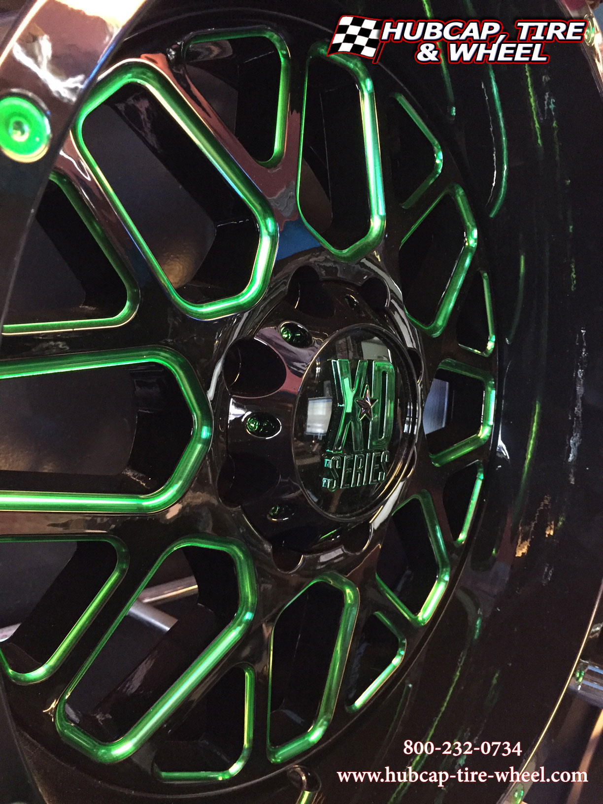 kmc xd series xd820 black green clear coat custom aftermarket wheels rims