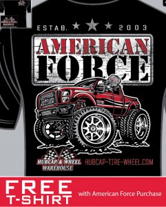 Hubcap Tire Wheel Free T-Shirt American Force